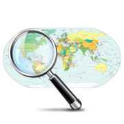 Map of the world and a magnifying glass