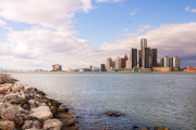 A picture of Detroit taken from the river.