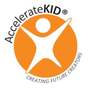 AccelerateKID logo with a graphic of a kid jumping and Creating Future Creators underneath.