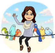 Graphic of a Bitmoji girl with brown hair, sitting on a telephone line with birds waving.