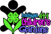 Michigan State University's 4H Children's Garden logo with a silhouette of a child with a 4 leaf clover with Hs.
