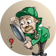 Graphic of a detective looking thorough a magnifying glass to a red question mark.