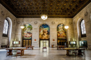 Picture of the inside of the Detroit Public Library with the murals.