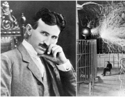 Picture of Nikola Tesla with a drawing of electricity.