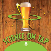 Science on Tap logo with atoms circling around a beer.