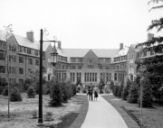 Old black and white picture of Williams Hall in North Neighborhood MSU.