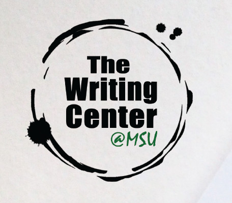 The Writing Center at MSU logo with an ink circle around it
