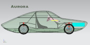 Graphic of the solar car Aurora with details of the inside.