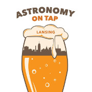 Astronomy on tap logo with beer glass and skyline outline.