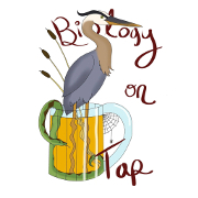 Biology on Tap logo with a stork and a snake inside of a beer.