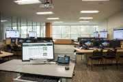 Room in the MSU Library with many computer stations.