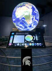 An image of the science on a sphere exhibit.
