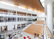 Picture of the inside of the MSU Business College Pavilion open atrium and large steps